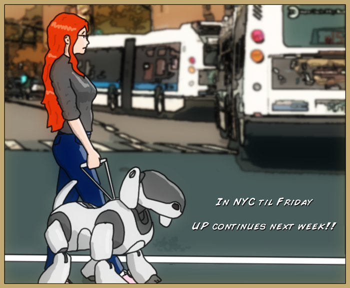 Drawing of Mia and Aibo walking together in the city